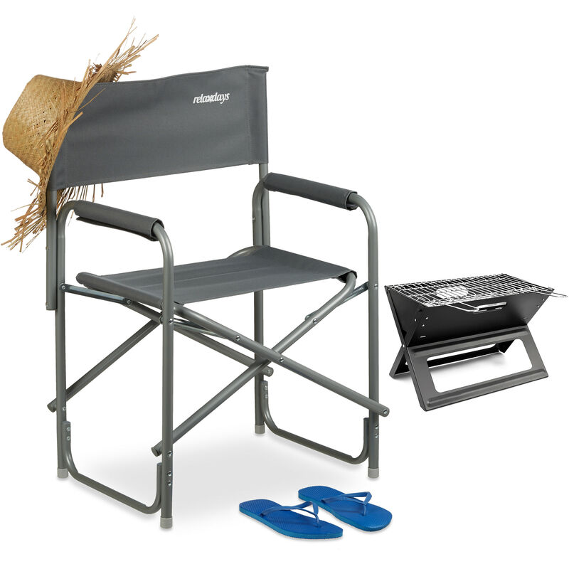 Pliante Chaise Chaise Pliante Chaise de pêche Chaise de camping avec Boissons Support Bleu