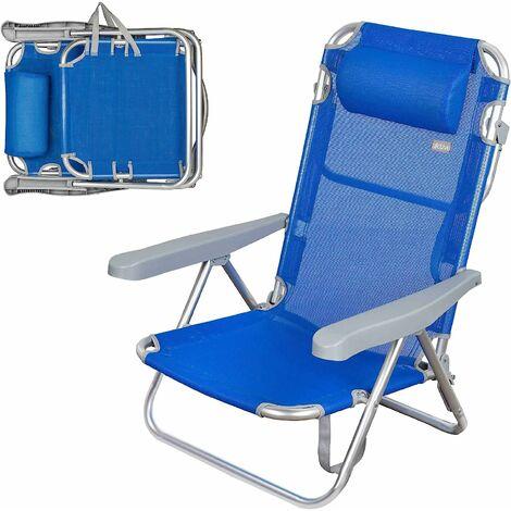 Chaise de plage 5 positions avec tête 60 x 78 x 108 cm Beach Aktive 62608