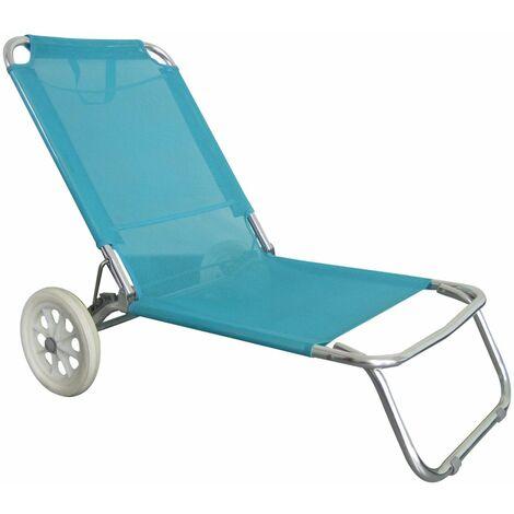 Chaise de plage avec roulettes - O'Beach - Dimensions : 124 x 64 x 82 cm