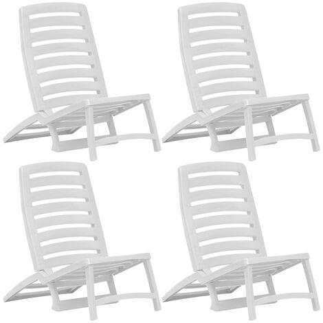 Chaise de plage Bain de soleil pliable 4 pcs Plastique Blanc