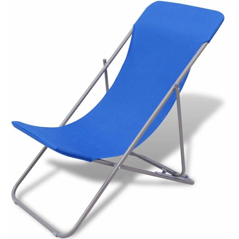 Chaise De Plage Pliable 2 Pcs Bleu