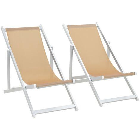 Chaise de plage pliable 2pcs Aluminium et Textilène Blanc cassé
