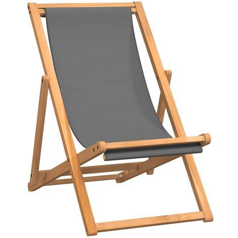 Chaise de plage pliable Bois de teck solide Gris