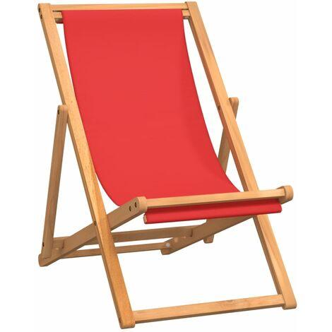 Chaise de plage pliable Bois de teck solide Rouge