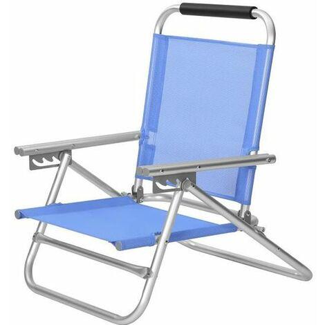 Chaise de plage portable, Siège d'extérieur pliable, dossier réglable sur 4 positions, avec accoudoirs, tissu respirant et confortable, charge 150 kg, Bleu GCB65BU - Blau