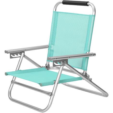 Chaise de plage portable, Siège d'extérieur pliable, dossier réglable sur 4 positions, avec accoudoirs, tissu respirant et confortable, charge 150 kg, Vert GCB065C01 - Grün