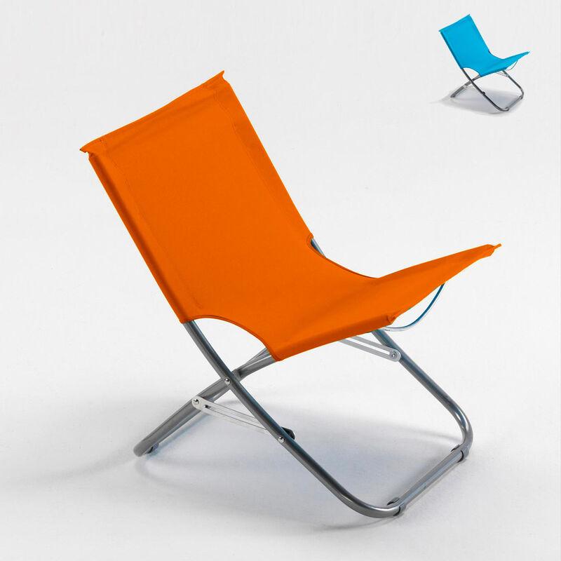 Chaise de plage transat pliante fauteuil piscine acier Rodeo   Orange