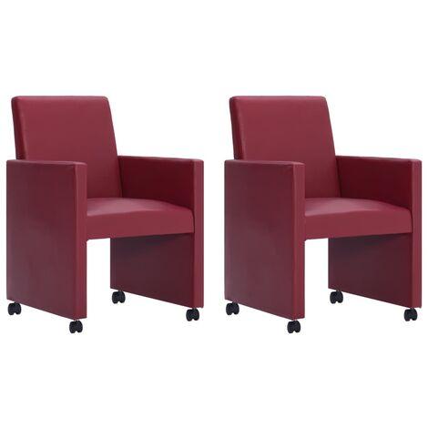 Chaise de salle à manger 2 pcs Rouge bordeaux Similicuir