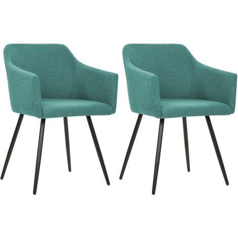 Chaise de salle a manger 2 pcs Vert Tissu