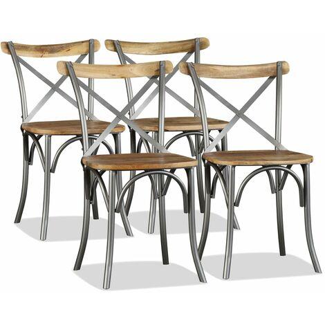Chaise de salle à manger 4 pcs Bois de manguier massif et acier
