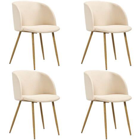 """main image of """"Chaise de salle à manger 4 pcs Crème Tissu"""""""