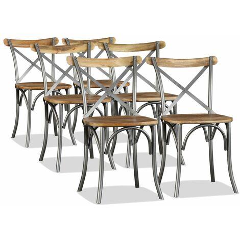 Chaise de salle à manger 6 pcs Bois de manguier massif et acier