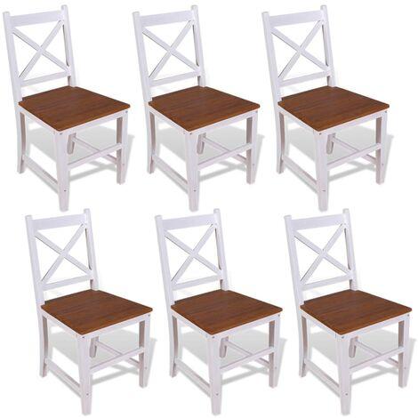 Chaise de salle à manger 6 pcs Bois de teck massif et d