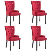 Chaise de salle à manger avec accoudoirs 4 pcs Rouge Velours