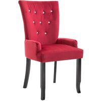 Chaise de salle à manger avec accoudoirs Rouge Velours