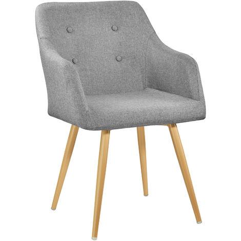 Chaise de Salle à Manger Confort, Fauteuil de Salon Rembourré au Design Scandinave 55 cm x 54 cm x 82,5 cm Gris