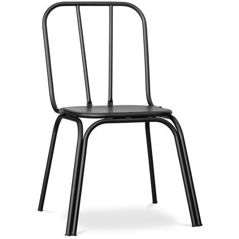 Chaise de salle à manger de style industriel Kenbo - Métal Noir