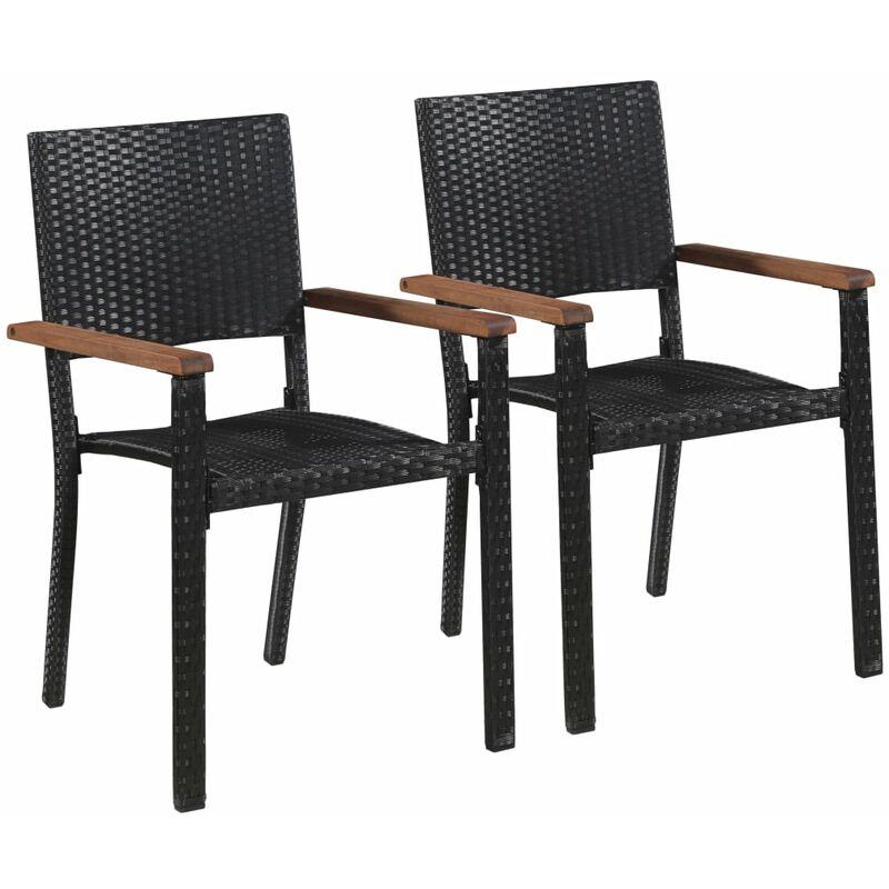 Chaise d'extérieur 2 pcs Résine tressée Noir