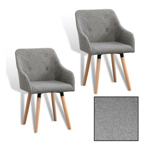 Chaise de salle à manger en bois Chaise de cuisine ensemble de 2 vintage tissu
