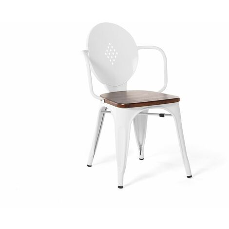 Chaise de salle à manger en métal blanc LORANE