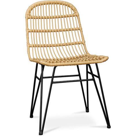 Chaise de salle à manger en osier synthétique - Many Jaune