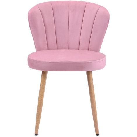 Chaise de salle à manger Ensemble de 1 fauteuil Oyster en tissu velours Chaise de chambre à coucher de salon avec dossier cousu (rose, 1)