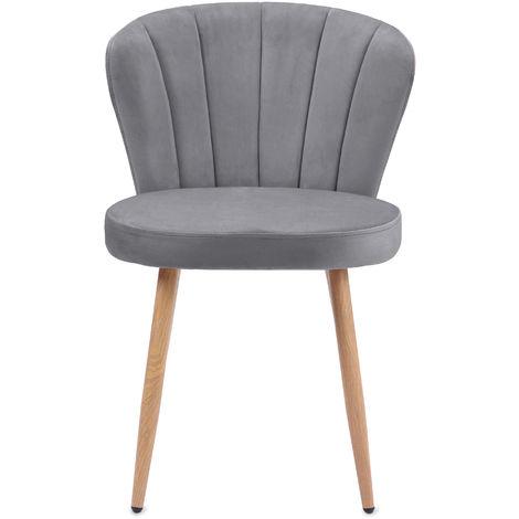 Chaise de salle à manger Ensemble de 2 Fauteuil Oyster en tissu velours Chaise de chambre à coucher de salon à dossier cousu Shell (gris, 2)