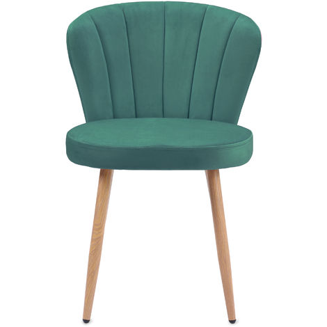 Chaise de salle à manger Ensemble de 2 Fauteuil Oyster en tissu velours Chaise de chambre à coucher de salon à dossier cousu (vert, 2)