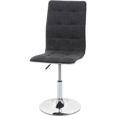 Chaise de salle à manger HHG-274, chaise de cuisine, pivotante et réglable en hauteur, tissu/textile ~ gris