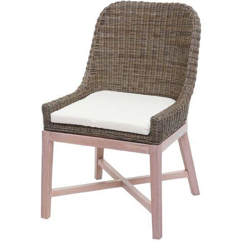 Chaise de salle à manger HHG-574, chaise de cuisine, osier en rotin bois massif