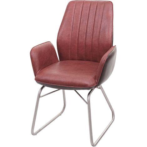 Chaise de salle à manger HHG-923, fauteuil, basculant, semi-cuir, tissu, acier inox brossé