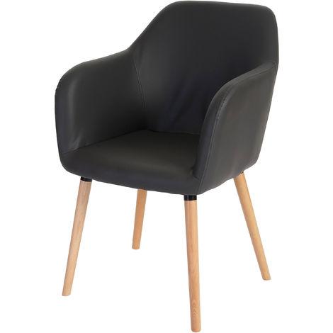 Chaise de salle à manger Malmö T381, fauteuil, design rétro des années 50 ~ tissu, gris, pieds foncés