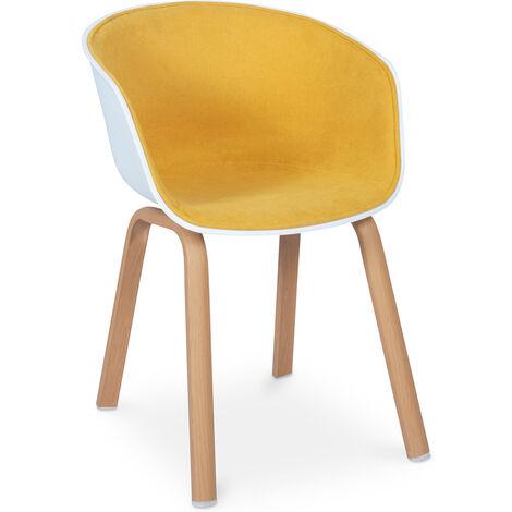 Chaise de salle à manger scandinave rembourrée avec accoudoirs Orange