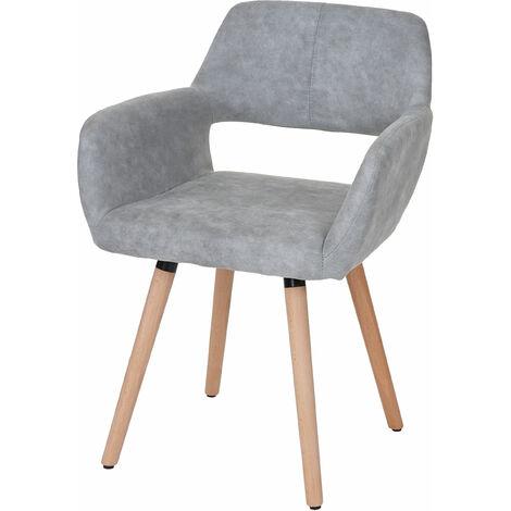 Chaise de salle àmanger HHG-428 II, style rétro années 50 ~ similicuir, imitation daim, pieds foncés