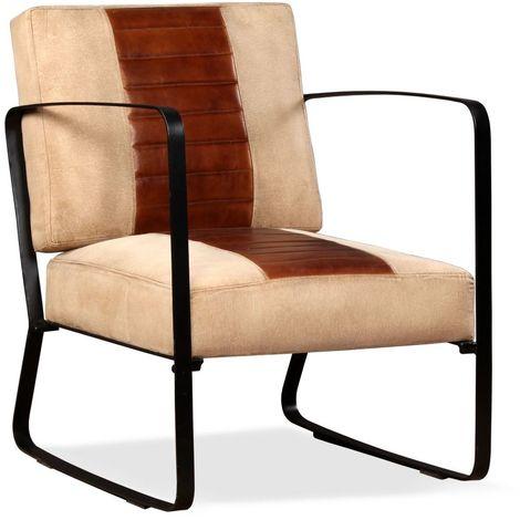 Chaise de salon Cuir veritable et Toile Marron