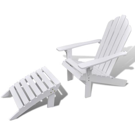 Chaise de salon jardin en bois avec repose-pied Maja+ MJ40859