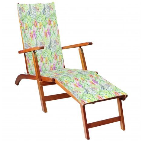Chaise de terrasse avec repose-pied et coussin Acacia solide