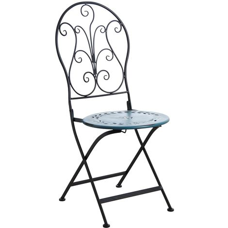 Chaise de terrasse pliante en métal Bleu - Bleu