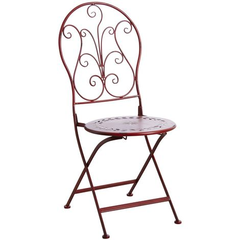 Chaise de terrasse pliante en métal Rouge - Rouge