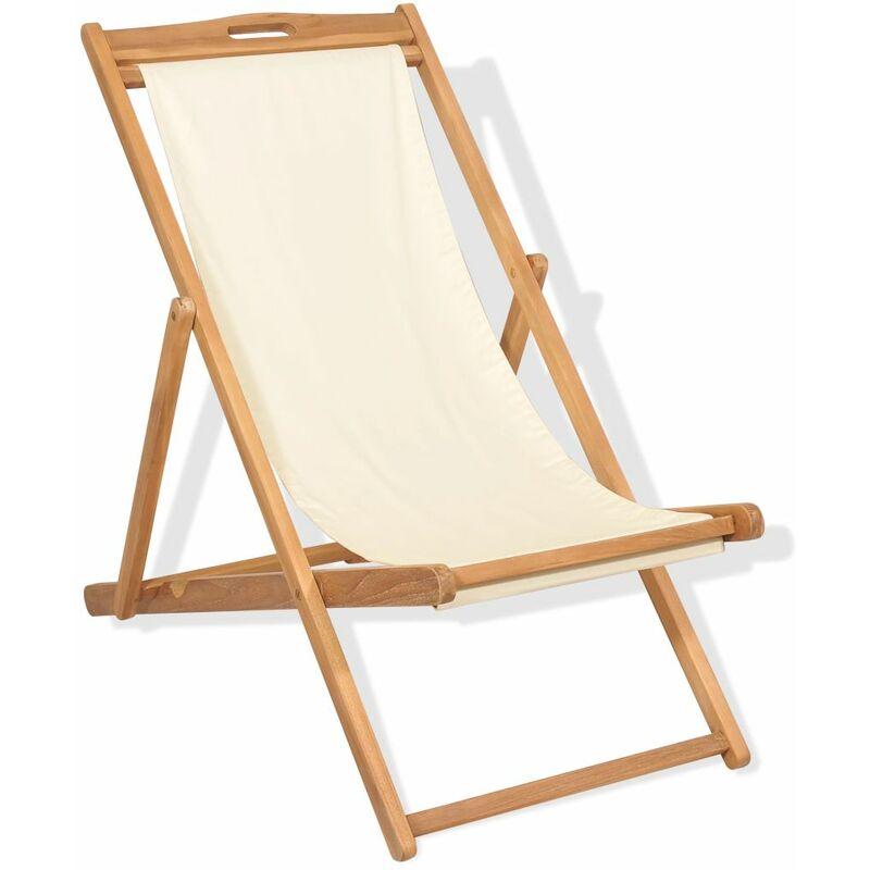 Chaise de terrasse Teck 56 x 105 x 96 cm Couleur creme