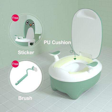 Chaise de toilette amovible antidérapante pour enfant en bas âge avec couvercle pour bébé (vert)