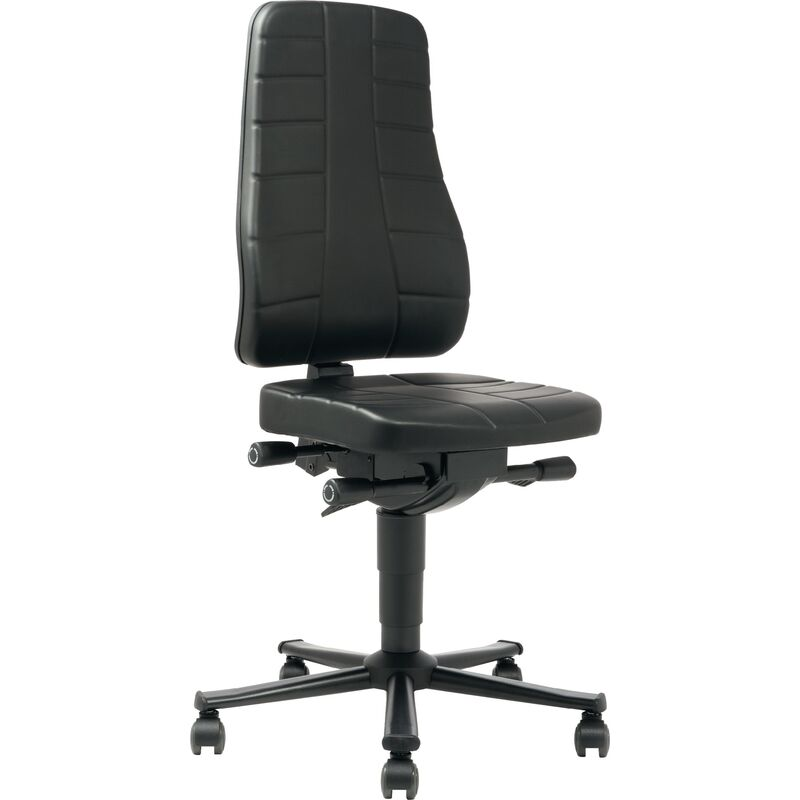 Interstuhl - Chaise de travail pivotante Highline roulettes rembourrage simili cuir noir 450-600 mm