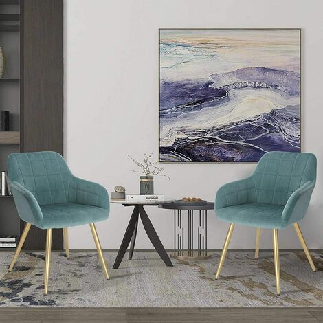 CHAISE de velours, les jambes d'or turquoise