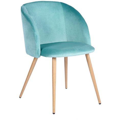 Chaise de velours vert d'eau vintage Piaf