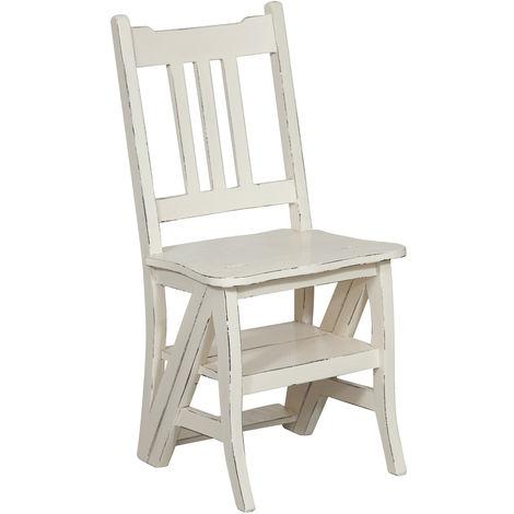 Chaise d'escalier en bois massif d'acajou L44xPR38xH90 cm, finition blanche patinée