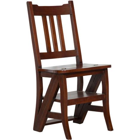 Chaise d'escalier en bois massif d'acajou L44xPR38xH90 cm, finition noyer