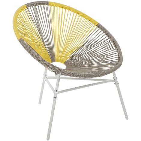 Chaise design de type spaghetti beige et jaune pour salon ou terrasse