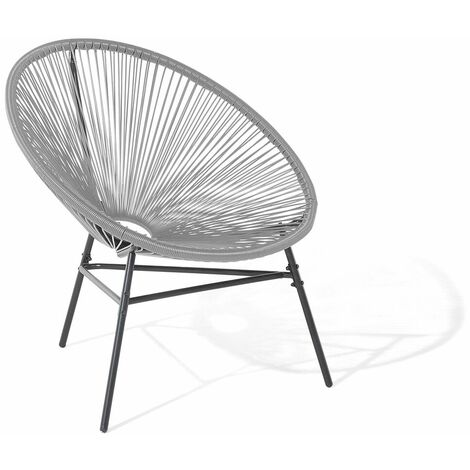 Chaise design de type spaghetti gris clair pour salon ou terrasse