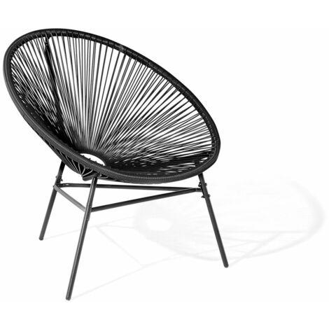 Chaise design de type spaghetti noire pour salon ou terrasse