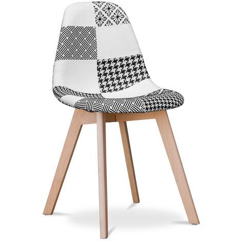 Chaise Design Deswick Noir et blanc - Patchwork Sam Blanc / Noir